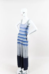 Multi-Color Maxi Dress by Vince Gray Variegated Blue