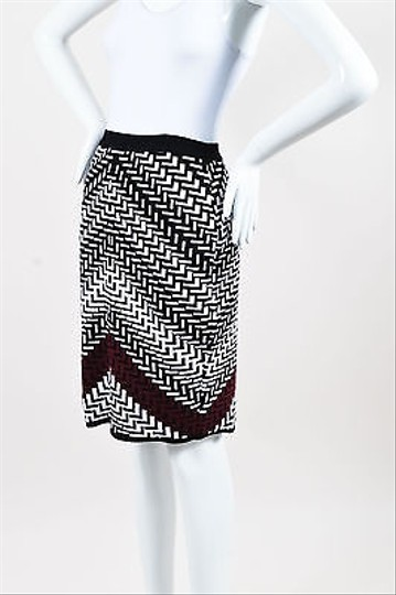 Romeo Juliet Couture Black White Oxblood Patterned Bodycon Skirt #19729765 - Skirts 60%OFF