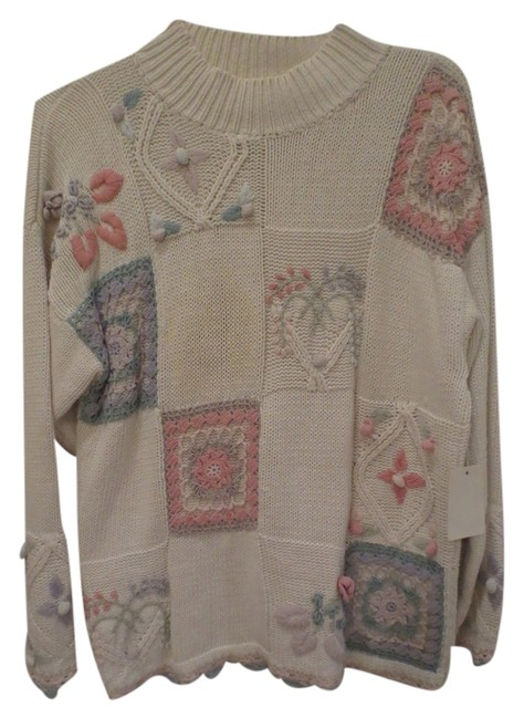Preload https://item1.tradesy.com/images/off-whitemulti-cotton-blind-sweaterpullover-size-12-l-1972985-0-0.jpg?width=400&height=650