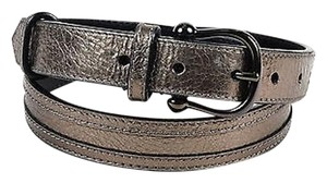 Burberry Burberry Metallic Gunmetal Pebbled Leather Gunmetal Tone Buckle Belt 3280