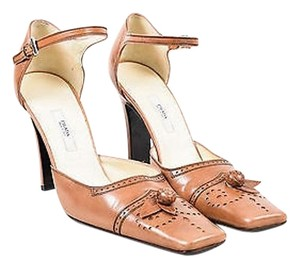 Prada Leather Perforated Tan Pumps