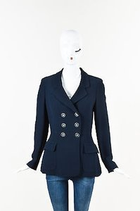 Moschino Moschino Cheap And Chic Navy Crepe Double Breasted Flower Button Blazer