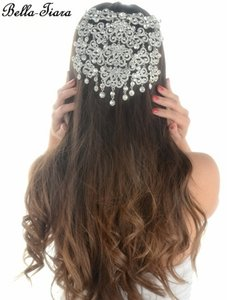 Bella Tiara Dramatic Crystal Wedding Hair Comb Bridal Headpiece