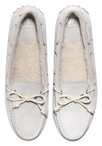 Cole Haan Suede Shearling Driving Moccasin Silver Burch Flats