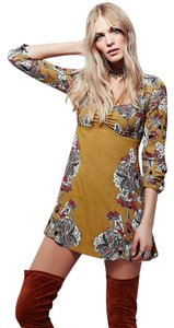 Free People short dress Mustard, Red Floral Mini Bohemian Lace Up on Tradesy