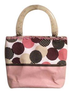 Metaphor Beach Pool Tote Small Statement Satchel in Mauve, brown and white