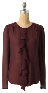 Anthropologie Cascade Range Silk Buttondown Moulinette Soeurs Top Burgundy