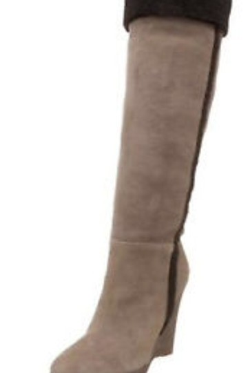 Delman Wedge Suede Shearling Coach Tory Burch Taupe/Brown Boots