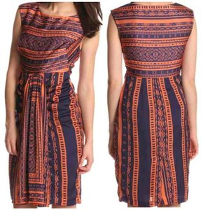Eva Franco Shift Batik Rust Orange Dress