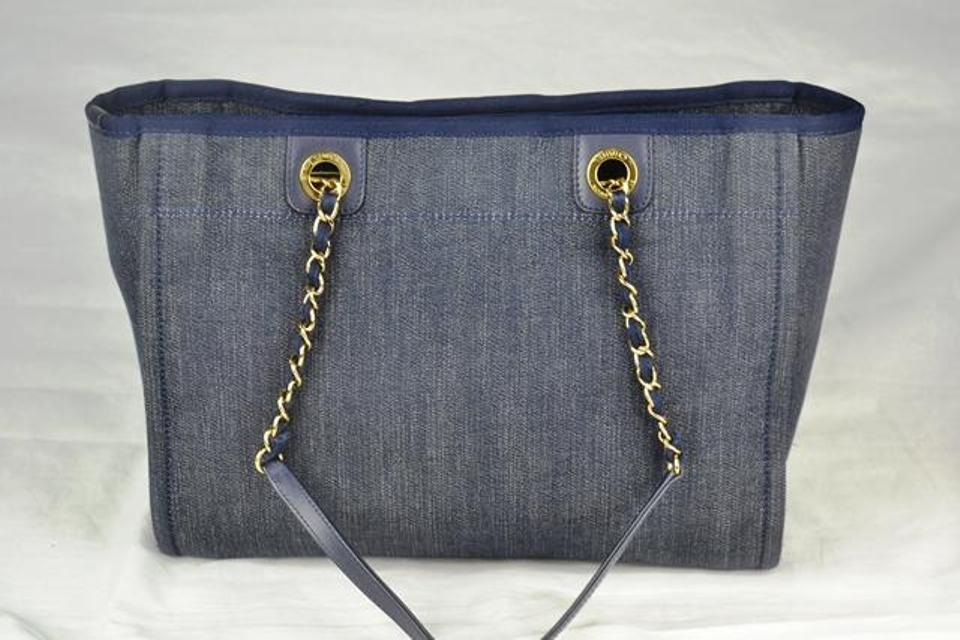 Chanel Deauville Dress Chain Blue Denim Shoulder Bag - Tradesy 8ab528b061