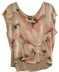 Bobeau Top Dusty Rose & Heathered Beige