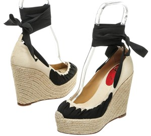 Christian Louboutin Cream/Black Wedges