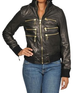 Knoles & Carter Bomber Zipper Leather black Jacket