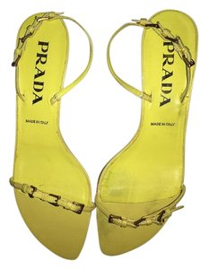 Prada Yellow Low Heel Chic Chartreuse Sandals