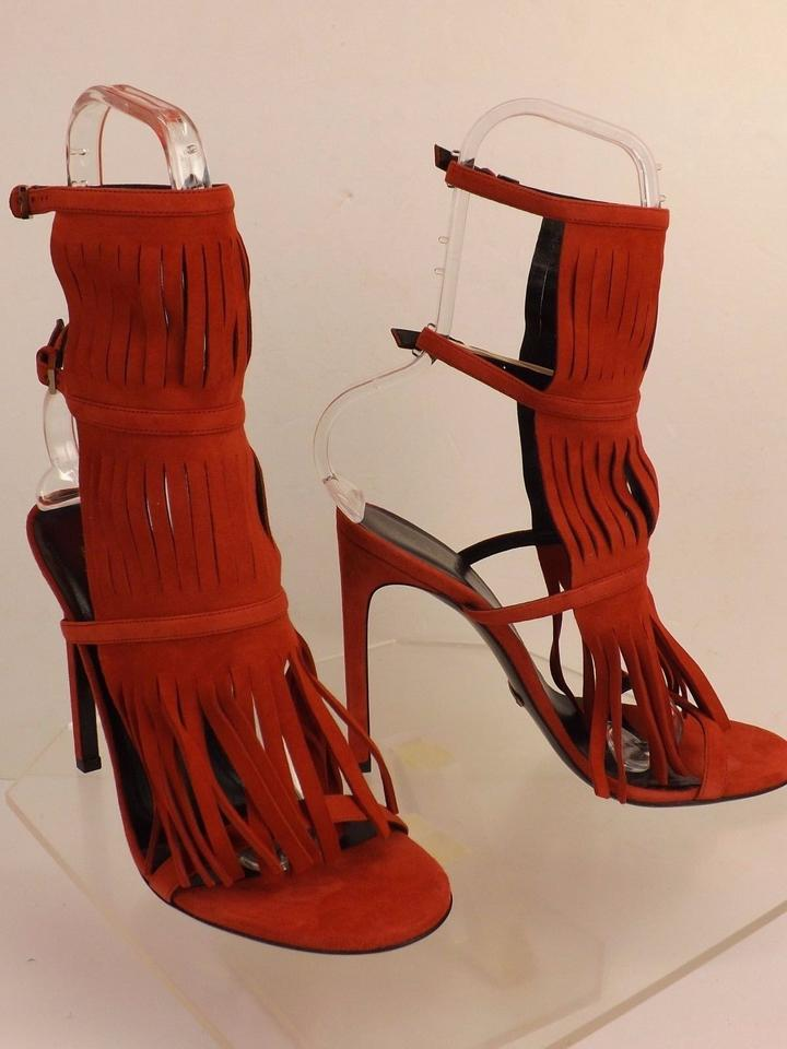 738034acc Gucci Red Becky Suede Fringe 37+ 7+ Flame Sandals Size EU 37.5 (Approx. US  7.5) Regular (M, B) - Tradesy