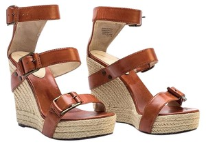 B Brian Atwood Leather Platform Sandals Ankle Strap Brown Wedges
