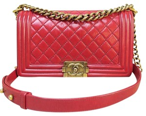 Chanel Medium Le Boy Glazed Leather Shoulder Bag