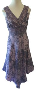 INC International Concepts short dress Purple Silk Sleeveless Floral Double Vee Neckline on Tradesy