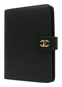 Chanel Chanel CC Logo Lambskin Leather Black Pocket Agenda Ring Cover Diary