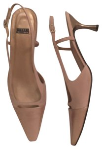 Stuart Weitzman Patent Leather Leather Slingback Formal Beige Gold Pumps