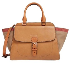 Burberry Tote Nova Check Leather Fall Satchel in Saddle, Check