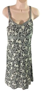 Ann Taylor LOFT short dress Black and White Midi Floral Abstract Cotton on Tradesy
