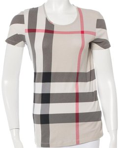 Burberry Nova Check Plaid Monogram T Shirt Beige, Black
