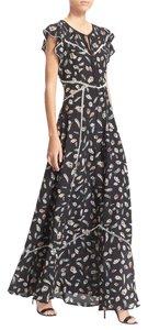 Black Feather Print Maxi Dress by The Kooples Maxi Kooples Silk