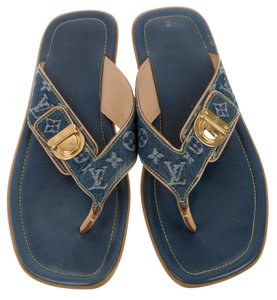 Louis Vuitton Idylle Lv Monogram Denim Blue, White Sandals