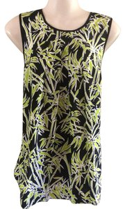 Michael Kors Pleated Palm Leaves Top Black green palms