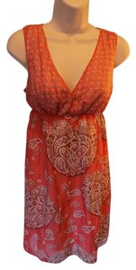 Max Studio short dress Orange and Brown Knee Length Sleeveless Cotton on Tradesy