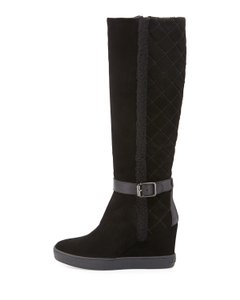 Aquatalia by Marvin K. Suede Wedge Shearling Quilted Black Boots