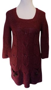 Olivia Sky Stretchy Sweater Solid Tunic Dress