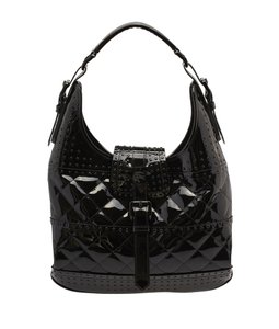 Burberry Patent Leather Studded Quilted Hobo Bag