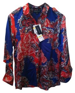 Jones New York Button Down Shirt Red Blue