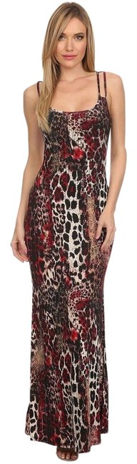 Item - Brown Studded Animal Print Super Sexy & Soft Maxi Long Cocktail Dress Size 12 (L)