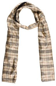 Burberry Black, beige, red Burberry Nova check plaid print silkstole scarf