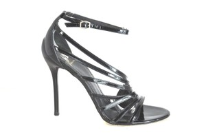 Brian Atwood Multi Strap Patent Leather Black Sandals