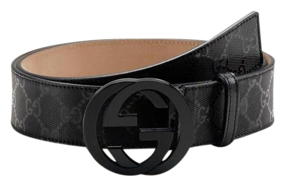 49acd2229 Gucci NWT Authentic Gucci Men's Black GG Imprime Shiny Belt 223891 FU49X  Image 0 ...
