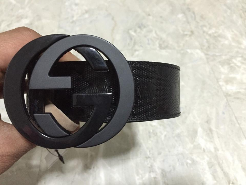 2bb7a3f79 Gucci Black Men's Gg Imprime Shiny 223891 Fu49x Belt - Tradesy