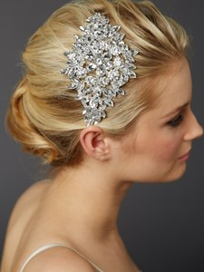 Mariell Silver Magnificent Headpiece with Bold Crystal Sunburst 4387h-s Hair Accessory