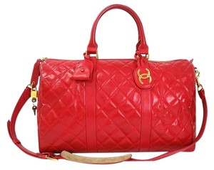 Chanel Boston Red Travel Bag