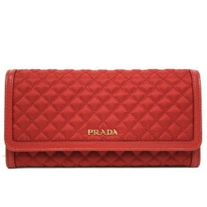 Prada Prada Tessuto Quilted Nylon Continental Flap Wallet 1M1132 Rosso Red