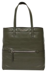 Miu Miu Leather Silver Hardware Designer Tote in Military Green
