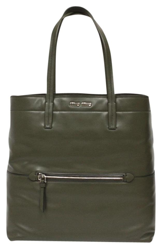 cf053eb52628 Miu Miu Leather Shoulder Silver Hardware Designer Tote in Green Image 0 ...