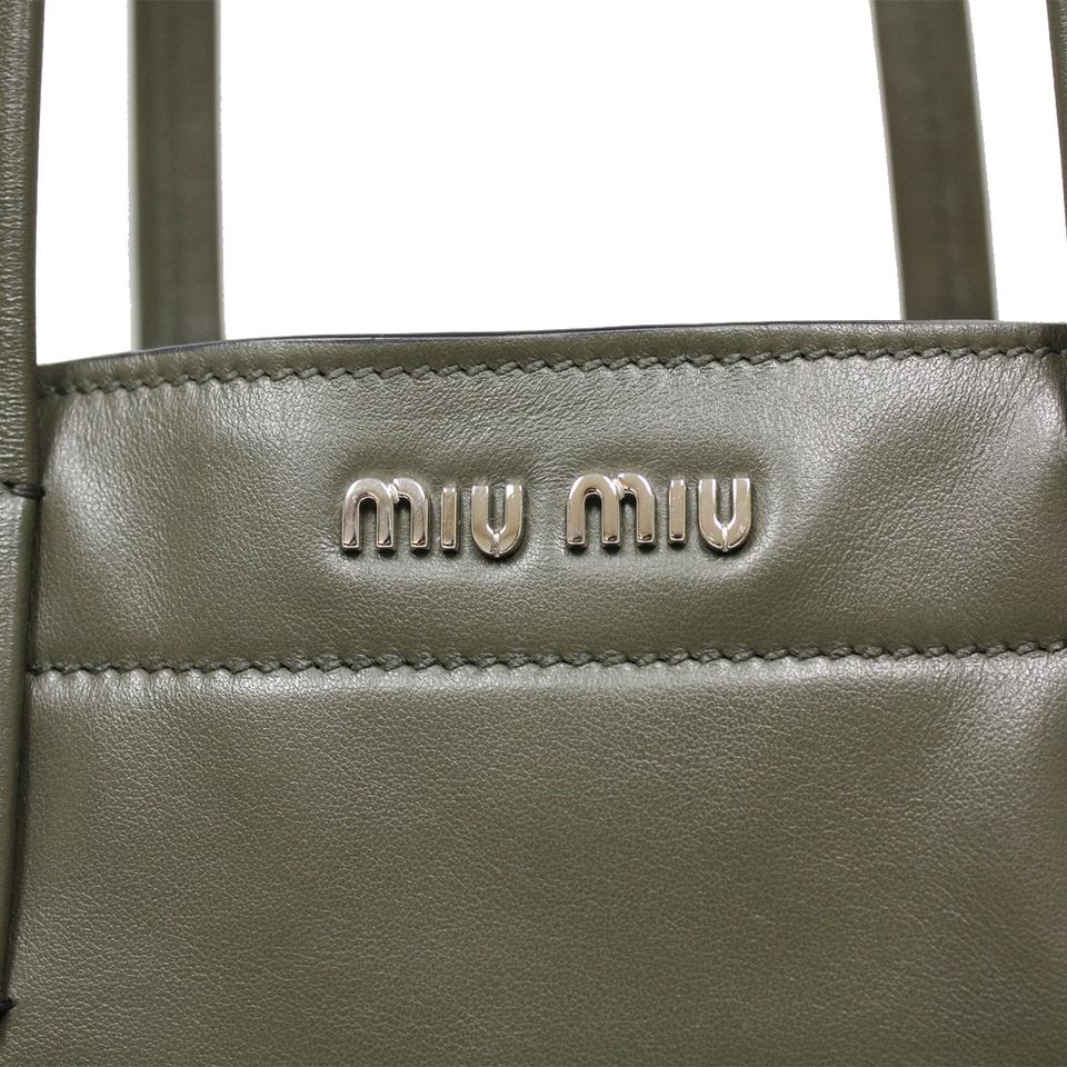 c09071de2087 Miu Miu Leather Shoulder Silver Hardware Designer Tote in Green Image 4.  12345