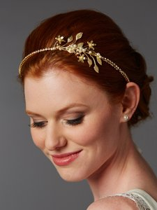 Mariell Gold Baby Pearl Floral Sprigs Hand-crafted Designer Headband 4445hb-g-i Hair Accessory