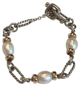 David Yurman DAVID YURMAN Sterling Silver 18K Yellow Gold Pearl Figaro Bracelet