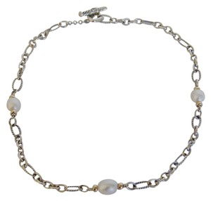 David Yurman David Yurman Sterling Silver Pearls & 18k Gold Chain Link Necklace