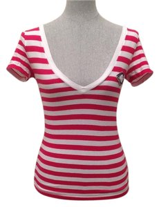 Hollister T Shirt White & Fuchsia
